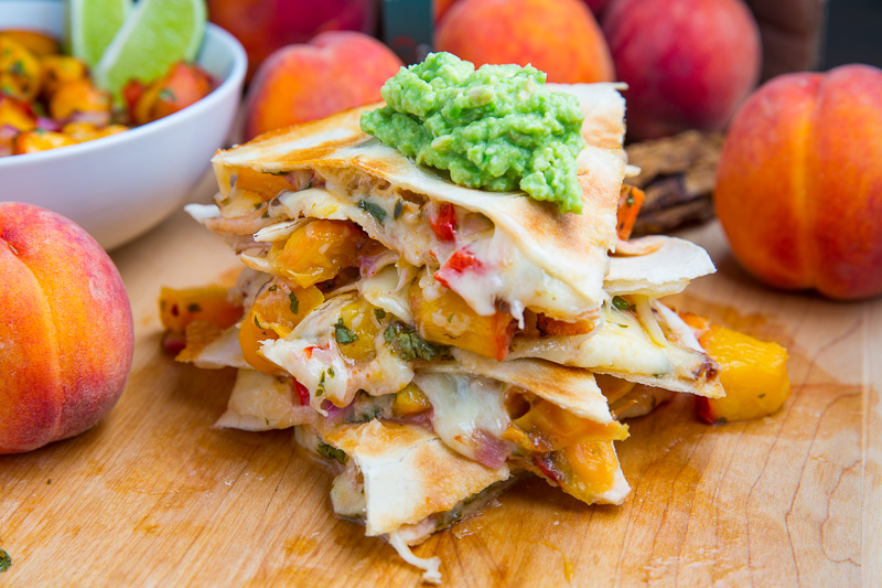 Chipotle Peach Salsa Quesadillas