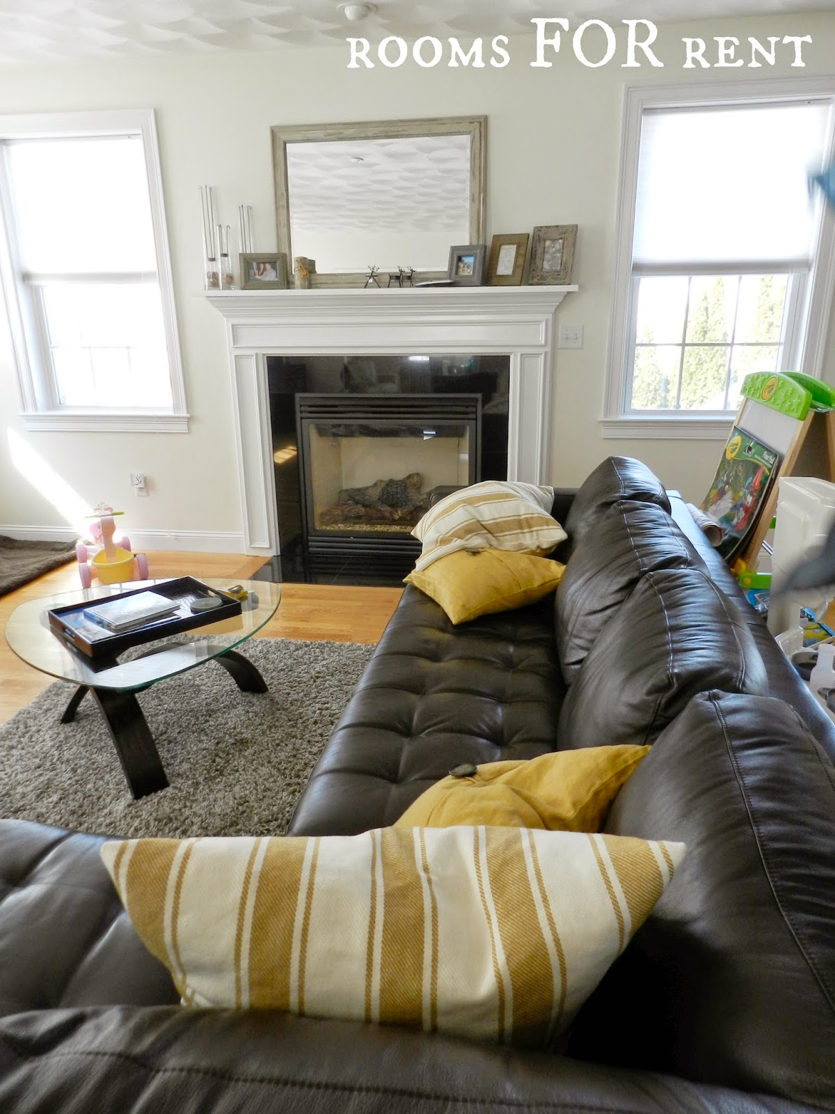How To Style A Dark Leather Sofa Den Makeover Beneath