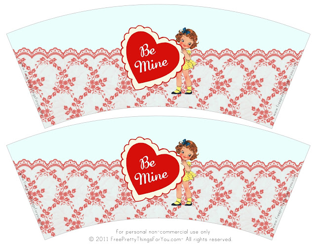 Valentines: Retro Free Printable Cup Wrappers.
