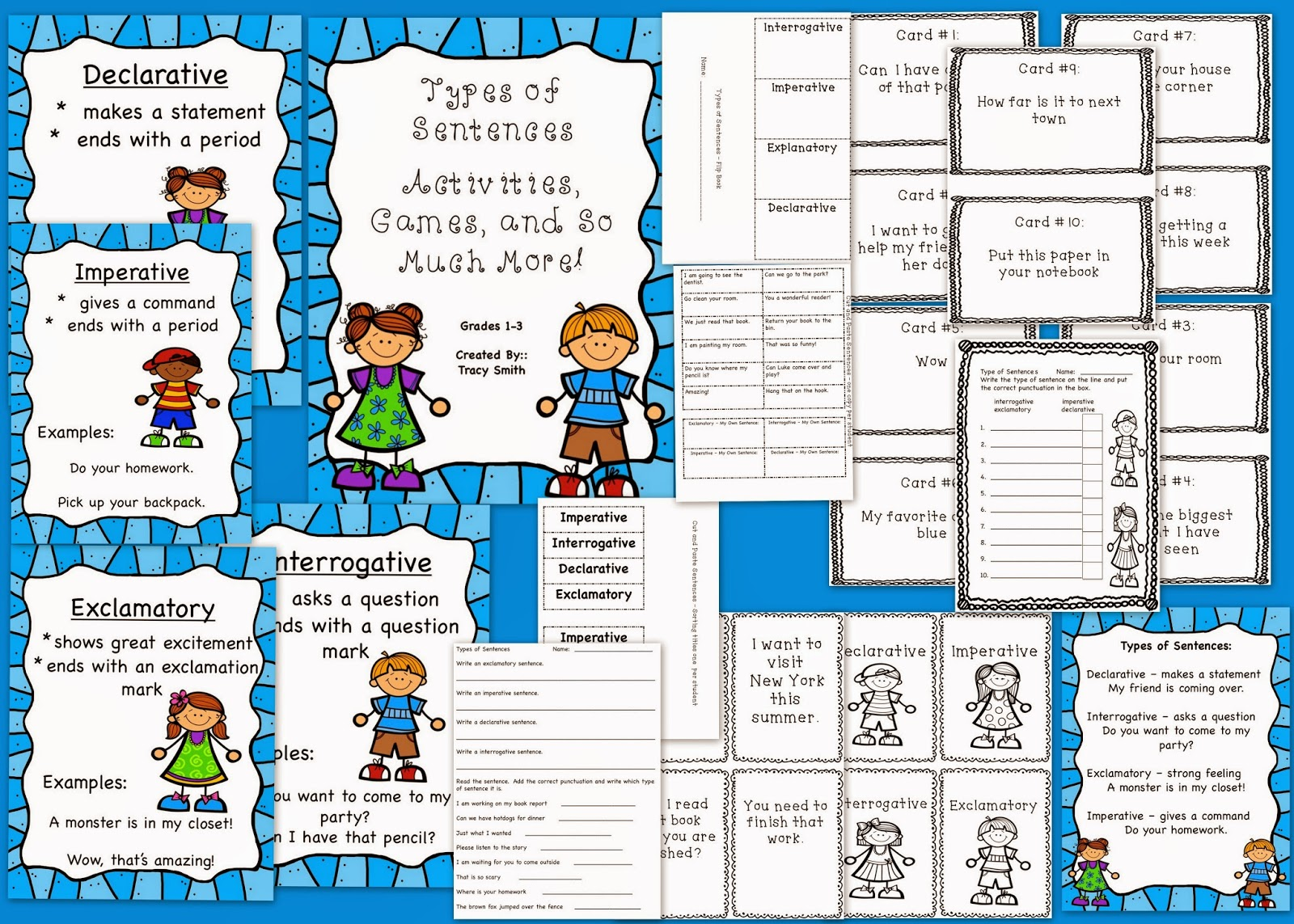 http://www.teacherspayteachers.com/Product/Types-of-Sentences-Grades-1-3-Common-Core-Aligned-1041255