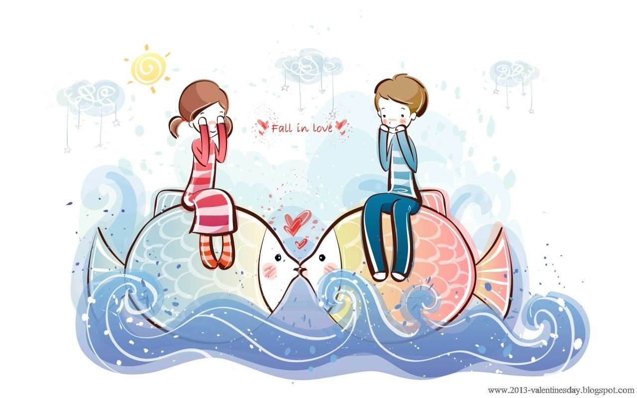 cute cartoon couple Love Hd wallpapers for Valentines day - ucapan valentine 2013