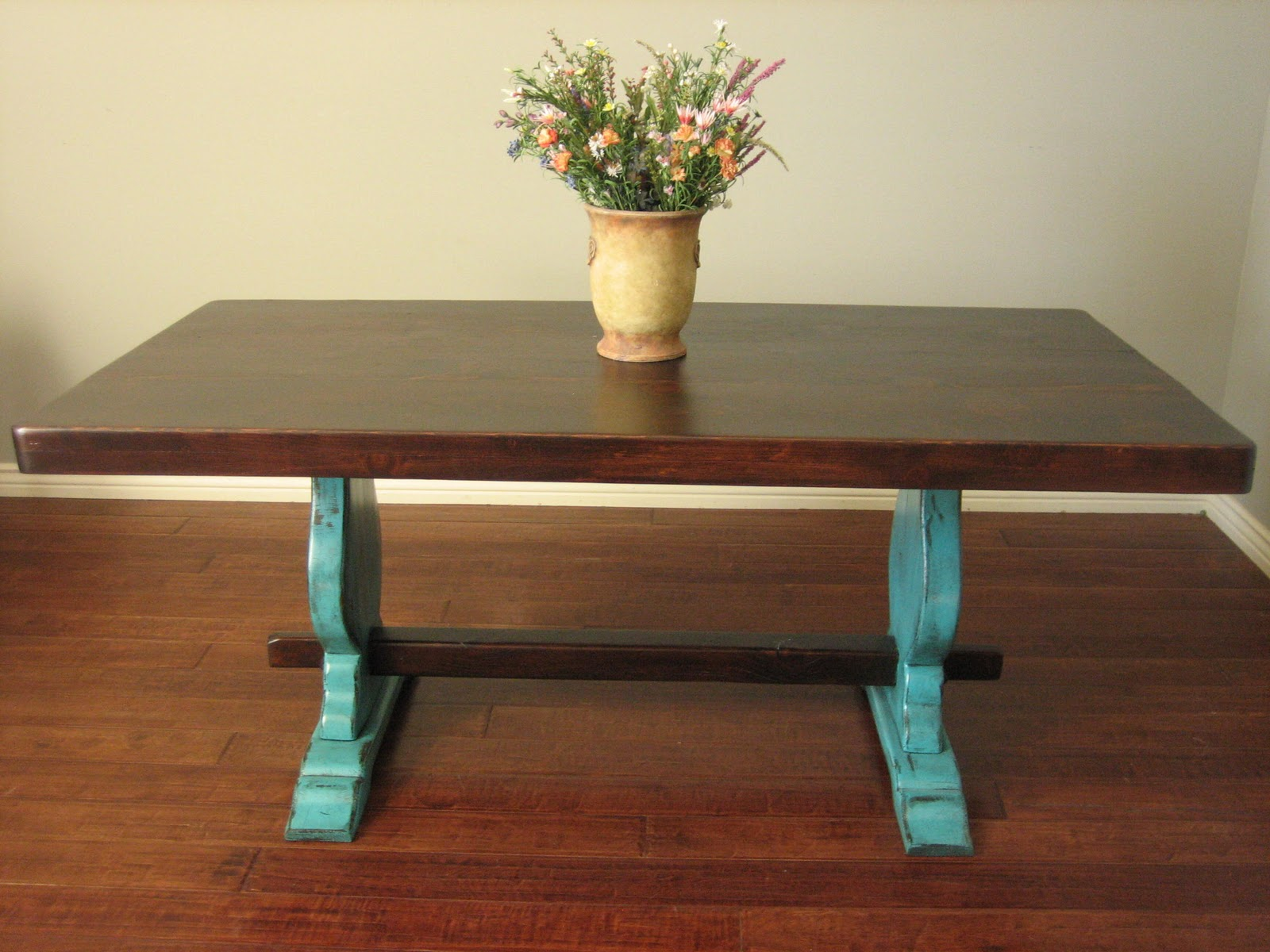 European paint finishes rustic turquoise trestle table - Refinish contemporary dining room tables ...