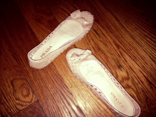 Prada flats, nude Prada flats, nude ballet flats, flat shoes with a bow, designer nude flats, Prada tan shoes, Prada consignment, where to get used designer clothing and accessories, used clothing, designer consignment, crossroads consignment stores, NYC used designer items