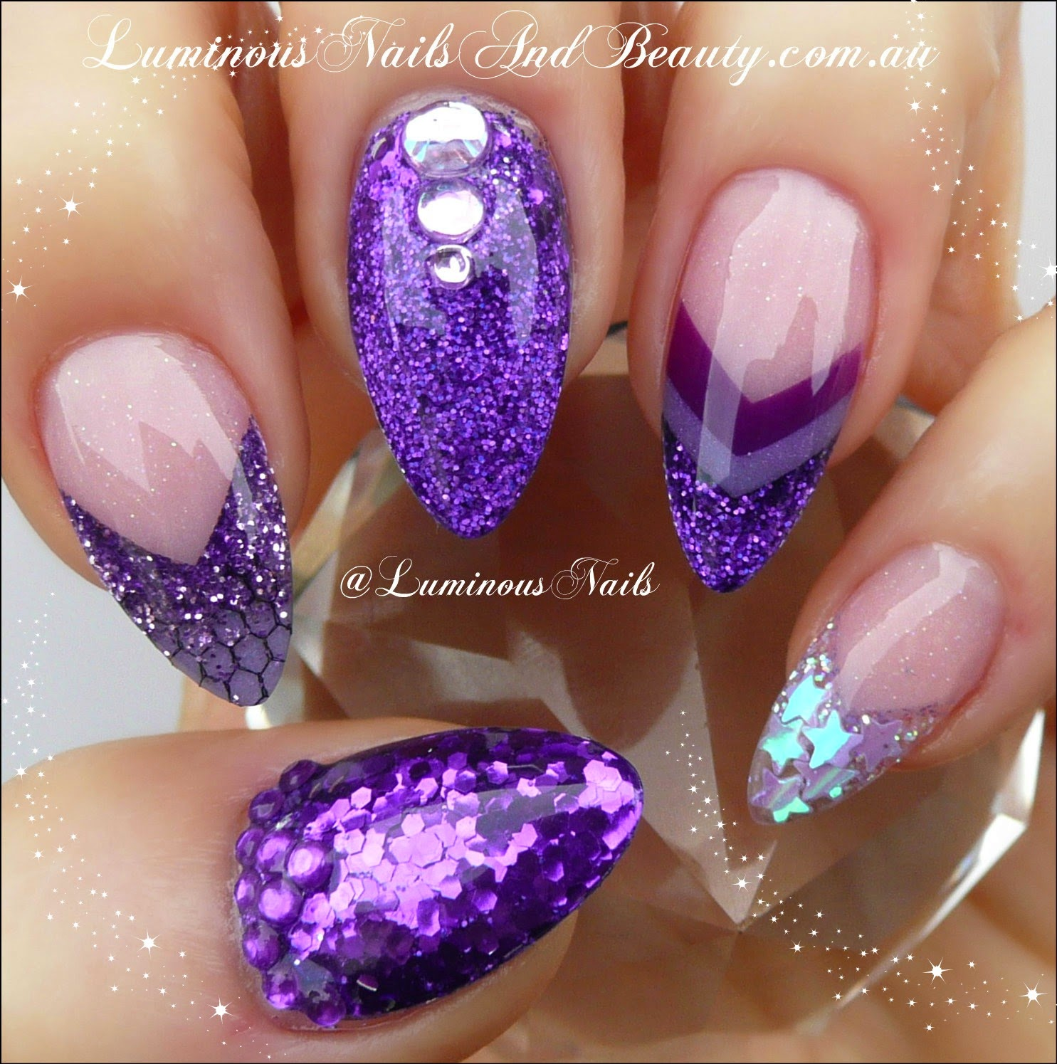 Shimmery Purple Nails With
