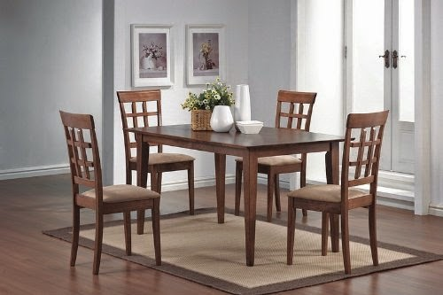 5pcs wheat back walnut finish dining 08