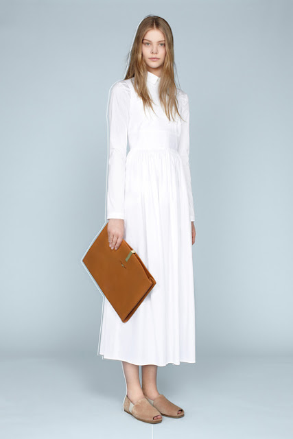 The Row, Resort 2014 - soft leather folder, calf-length white dress, clean and neat
