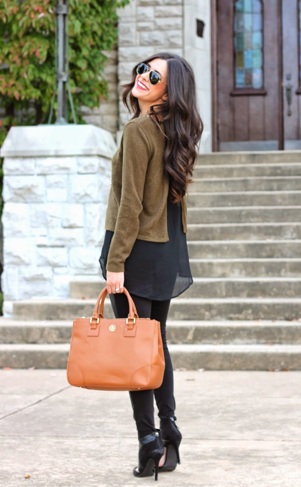 fall fashion, fall fashion 2013, leather leggings, zara leather booties, tory burch robinson, forever 21, h&m leather leggings, ray bans, emily gemma, the sweetest thing blog, how to wear leather leggings, black booties, tory burch