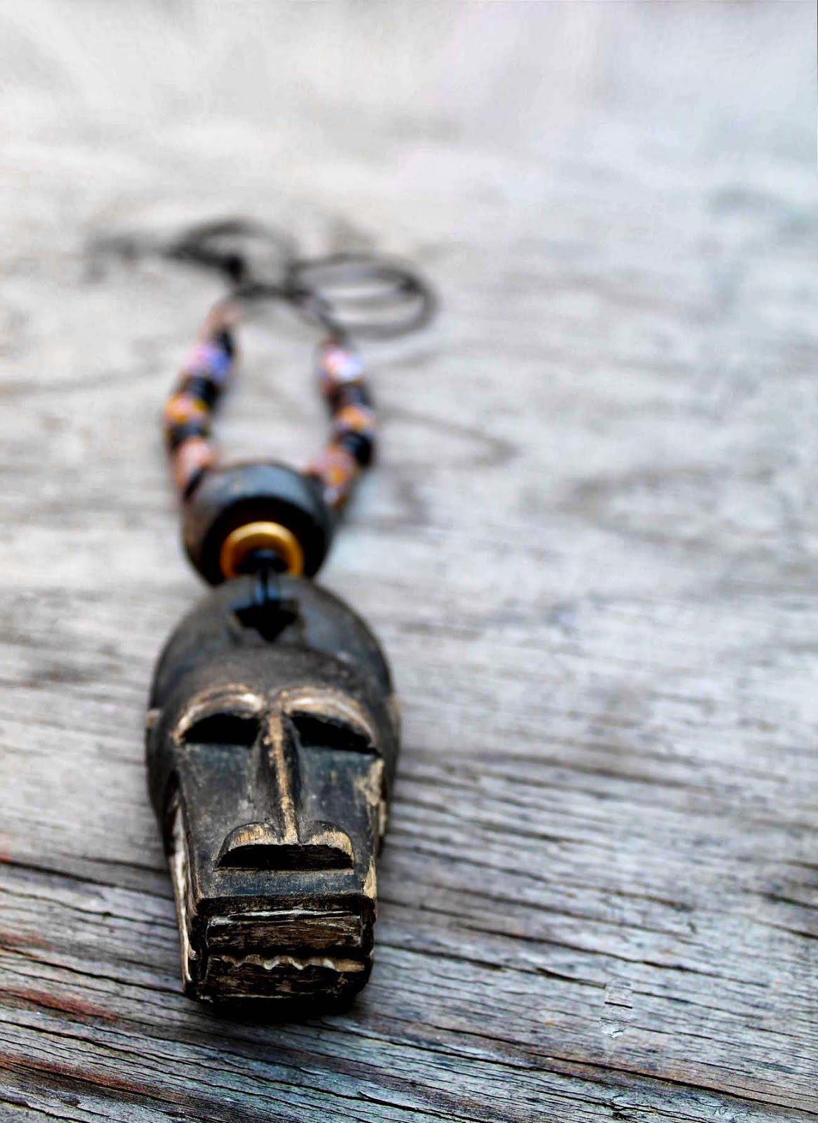 mens african mask leather necklace
