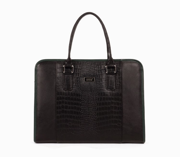 Elegant Genuine Crocodile Leather Upscale Business Men Black Bag