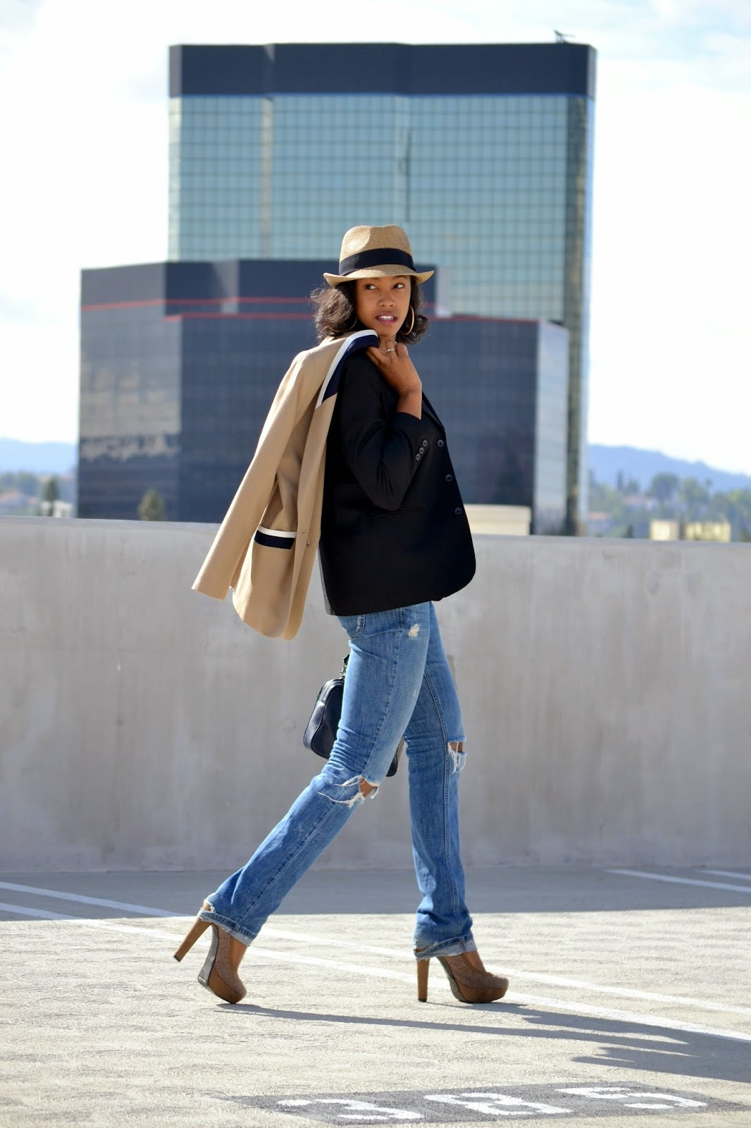 Wearing a David Young fedora Kasper vintage blazer Abercrombie jeans and Primark heels