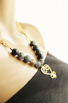 african natural stone brass sankofa pendant necklace set