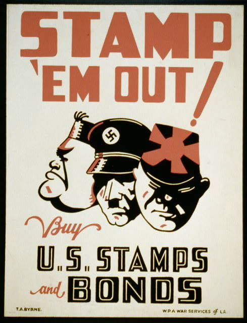 wpa, war, military, classic posters, free download, graphic design, retro prints, poster, united states, vintage, vintage posters, Stamp 'em out Buy U.S. Stamps and Bonds - Vintage War Military Poster