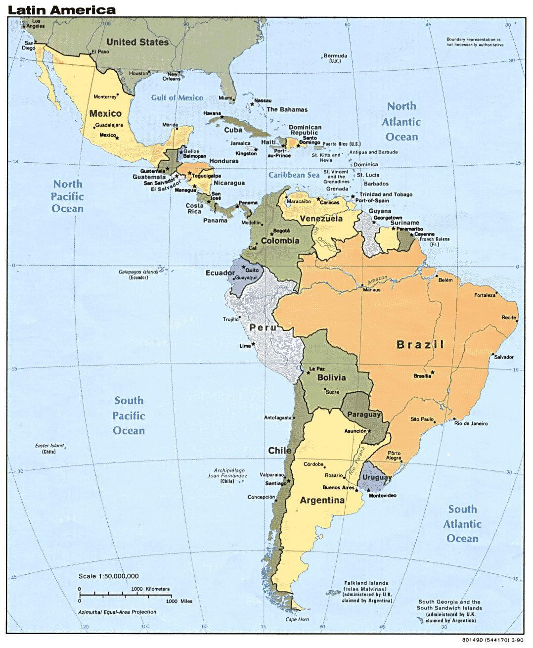 Online Maps Map of Central and South America