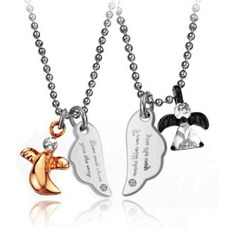 his or hers matching set titanium couple pendant necklace