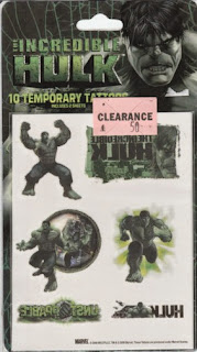 Front of Incredible Hulk Temporary Tattoos from 2008