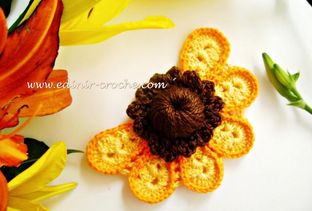 flores girassóis em croche da coleção aprendi e ensinei com edinir-croche dvd video aula blog loja