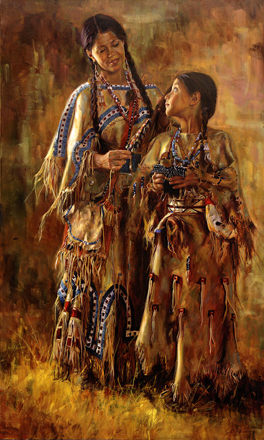 original oil on canvas 2012 Dixie Invitational winner.  A shoshone woman brushes her indian daughter's hair