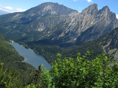 Sant Maurici lake and Encantats Peaks in Aigüestortes National Park