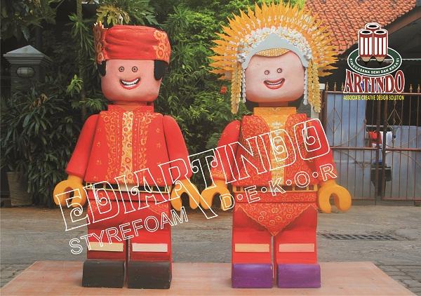pembuatan patung styrofoam Karakter Adat Minang