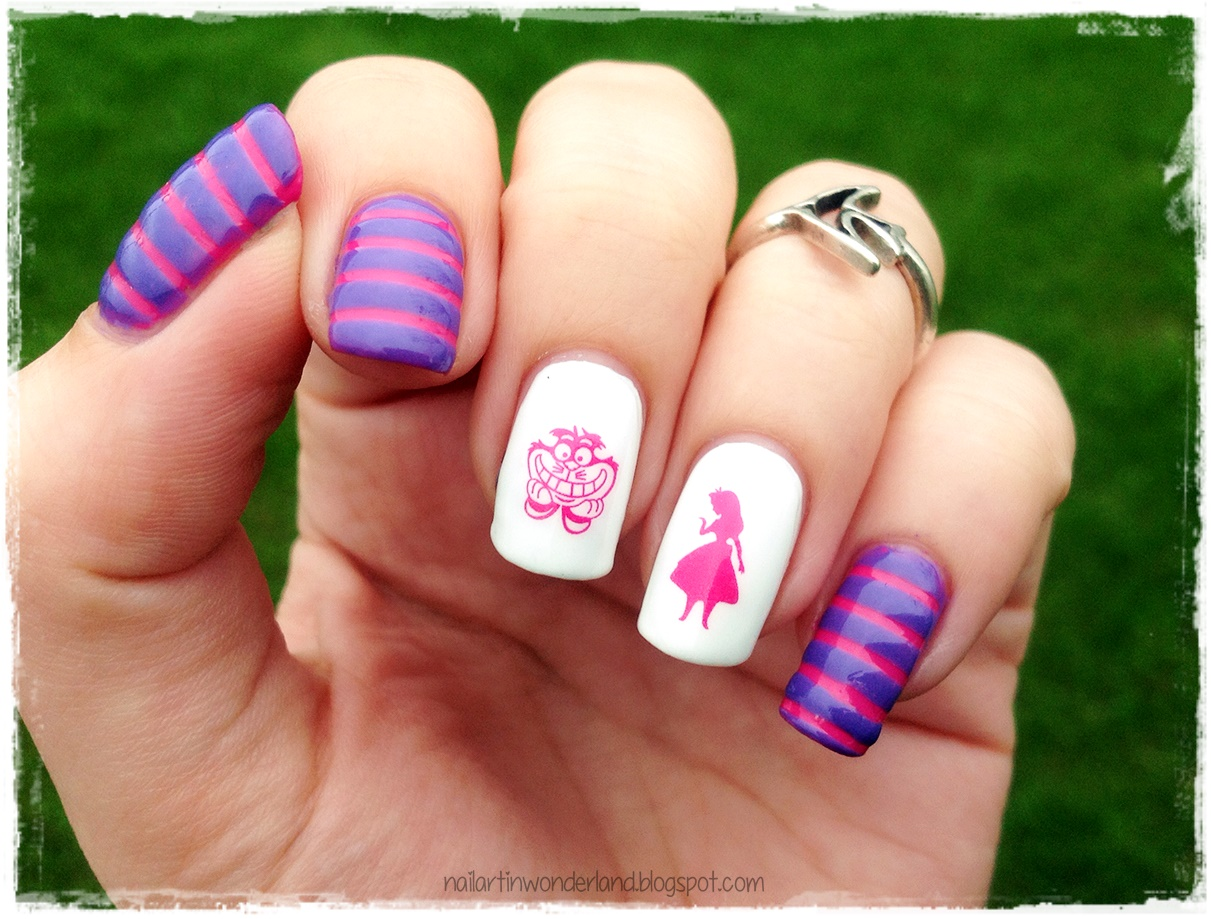 Twinsie Tuesday Favorite Fictional Character Alice In Wonderland Cheshire Cat Nail Art
