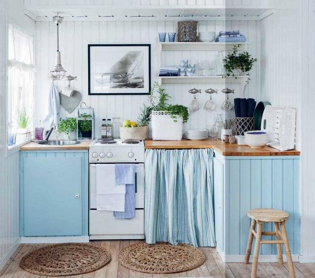 Colores que se llevan esta primavera en la cocina for Cortinas azules baratas
