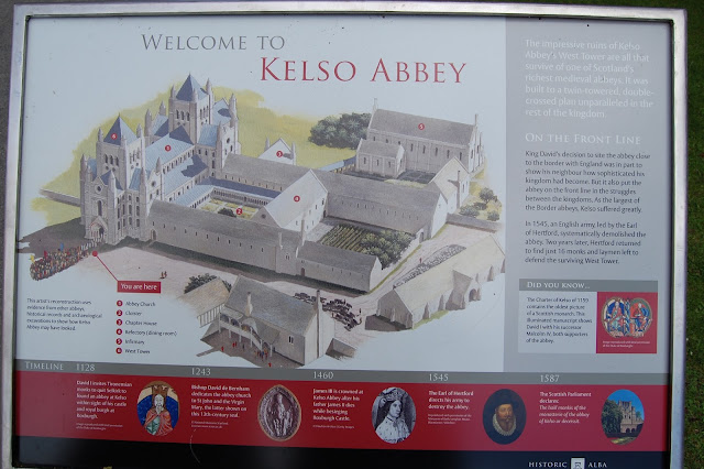 Information placard for Kelso Abbey