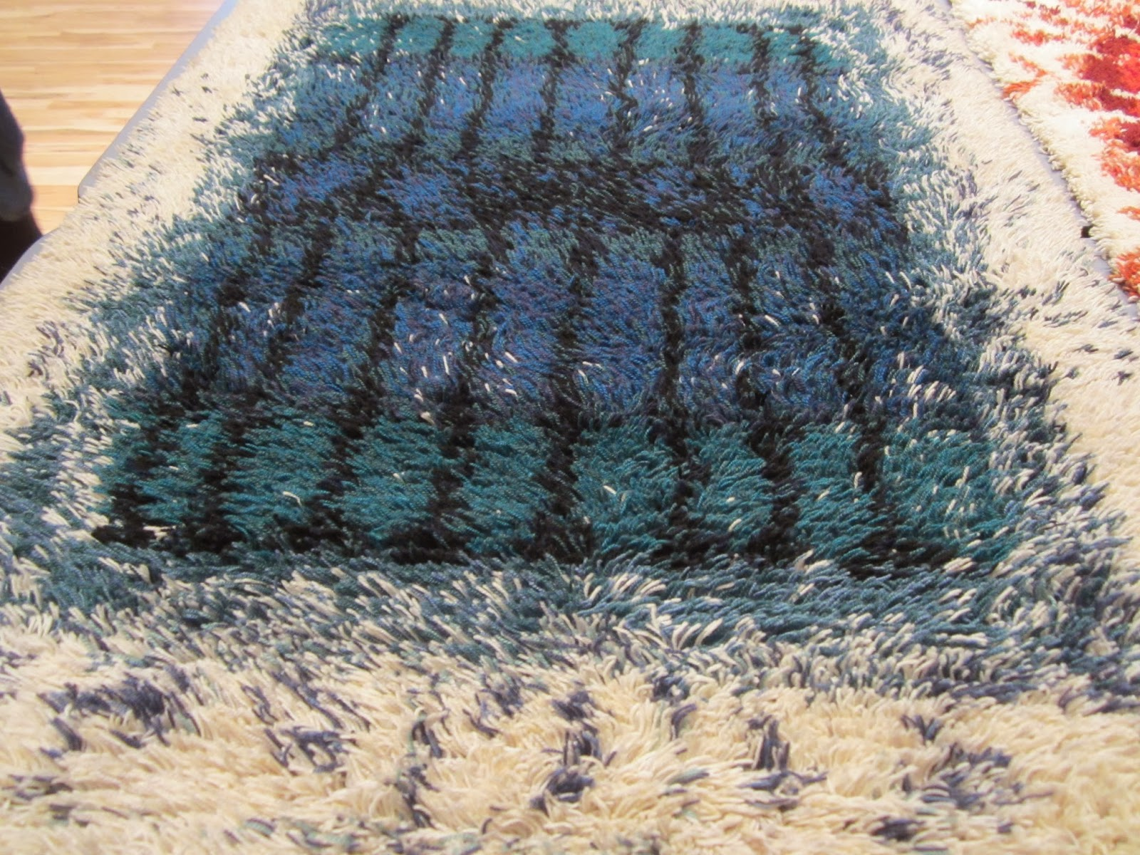 Blue Rectangle Rya Rug