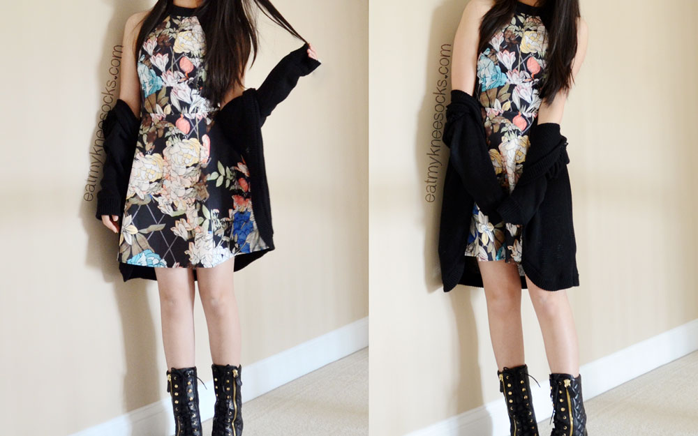 More spring outfit photos featuring the SheInside floral/grid skater dress, Guess boots, and a Forever 21 cardigan.