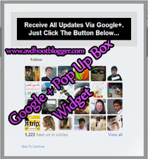 Google Plus Pop Up Widget For Blogger