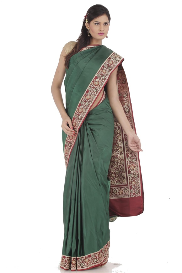 Dark Green Satin Banarasi Saree