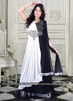 Violet Net Anarkali Gown | White n Black Net Gown Collection
