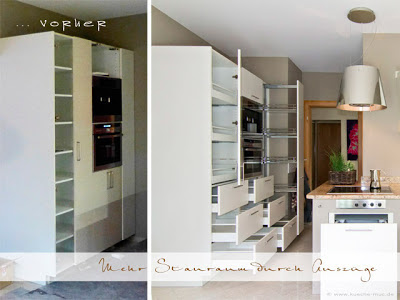 Die Küche erneuern und dabei gleich mehr Stauraum schaffen durch Innenauszüge statt Regalbrettern und einem praktischen Aplothekerschrank