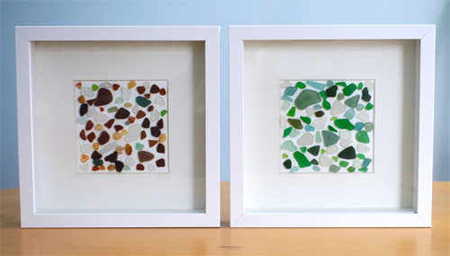 ikea later and i have at last done something with my sea or beach glass just waiting to get all the other art work done before i hang it on the wall