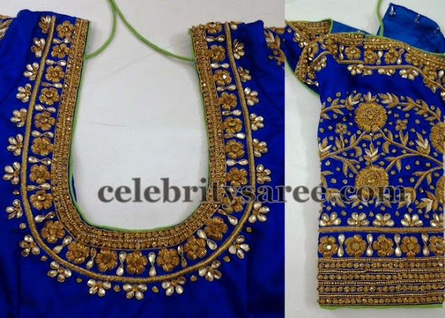 Elbow Length Blouse in Blue