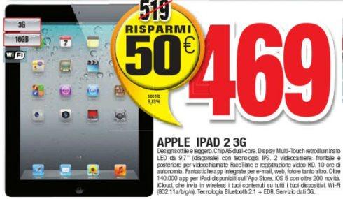 50 euro di risparmio sul Apple iPad 2 16GB wifi+3g da comet