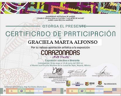 """Certificado de Participación Exposición Corazonadas"""