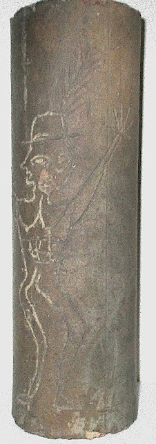 "12"" Sewer Pipe with Incised Figure of a Man"