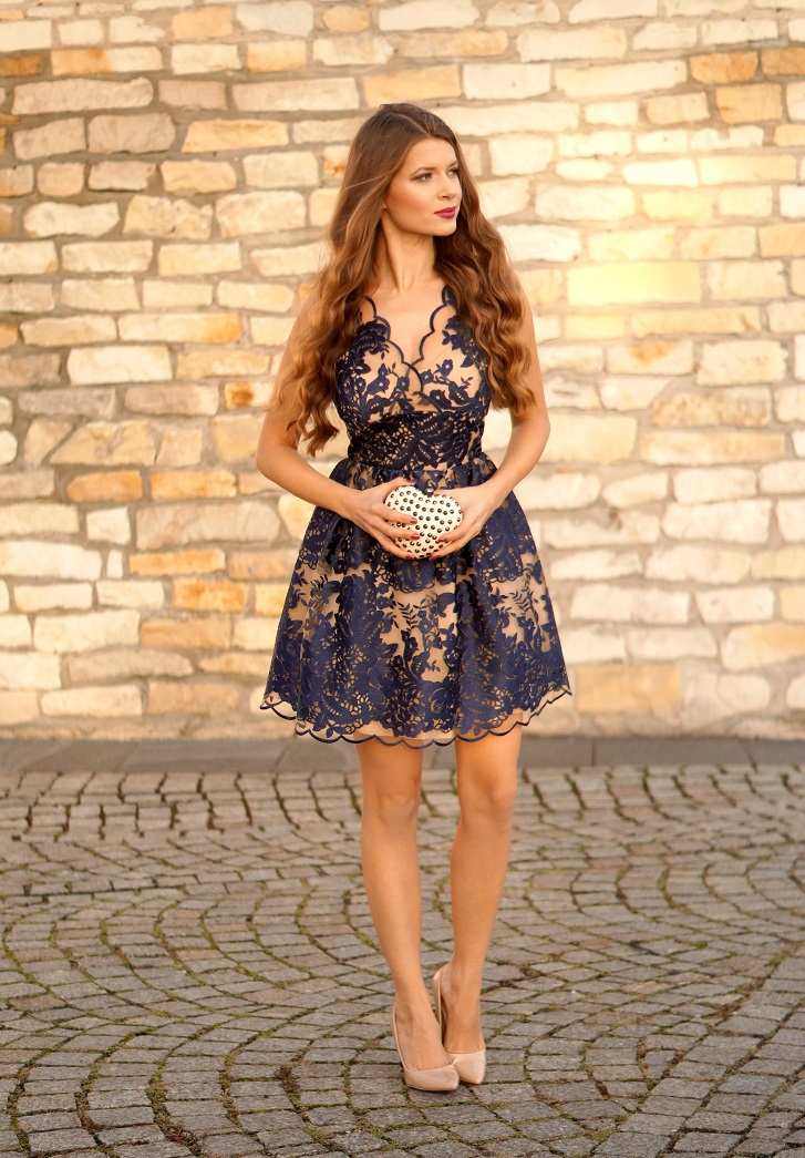 Only My Fashion Style Wieczorowa Granatowa Koronkowa Sukienka