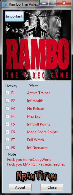 Rambo The Video Game V1.0.2.0 Trainer +7 MrAntiFun