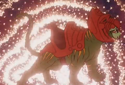 He-Man and the Masters of the Universe Cringer the Cowardly Tiger Transforms to Battle Cat