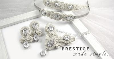 Elegancka biżuteria ślubna sutasz w kolorze ivory: kolekcja PRESTIGE, linia SIMPLE.