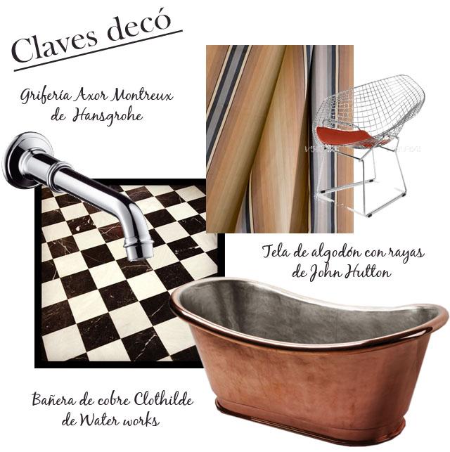 diseño baño clasico chic bañera de cobre , griferia clásica,silla vintage,cortina a rayas