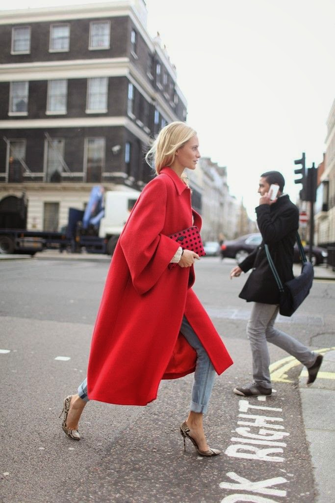 gorgeous red coat, denim jeans, snake print stilettos, red clutch, outfit inspiration, street style