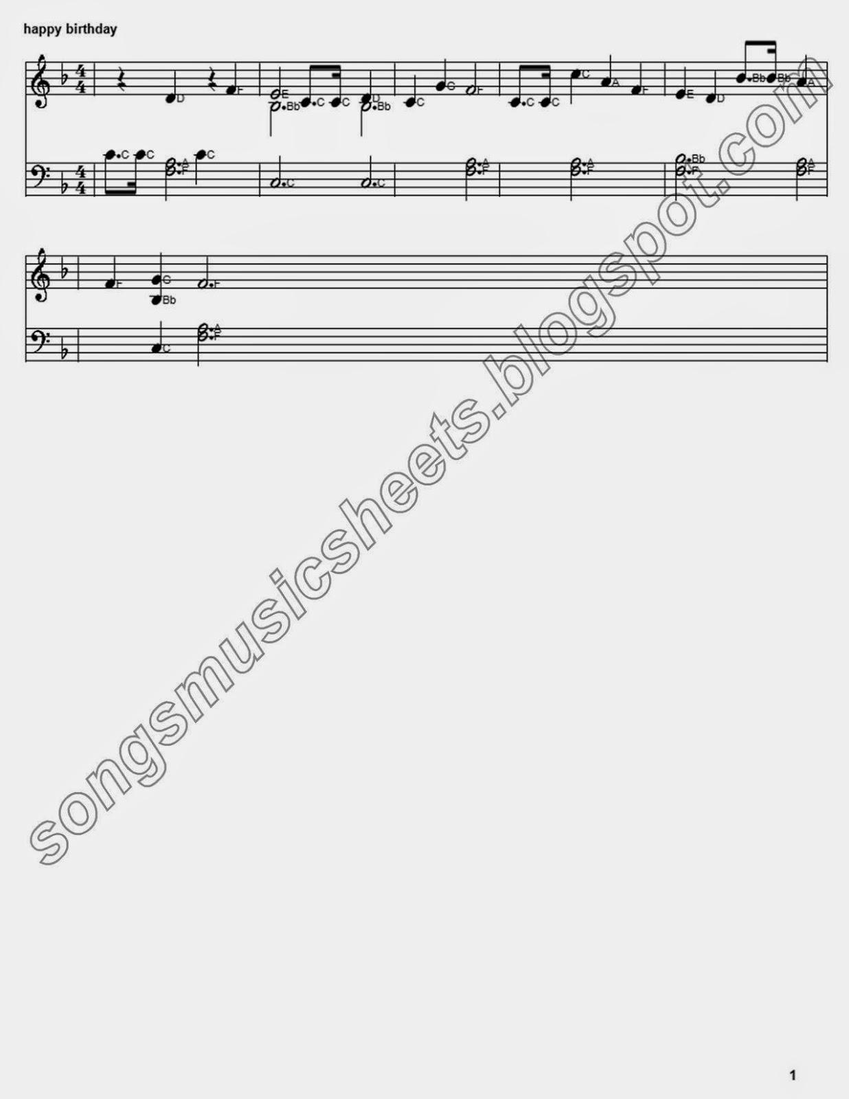 Happy Birthday Song Piano Music Sheet