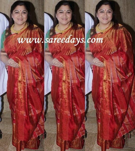 Latest saree designs kushboo in red shimmer uppada saree checkout kushboo in red shimmer uppada saree with self zari work with self weave zari work all over the saree and paired with contrast green short sleeves altavistaventures Image collections