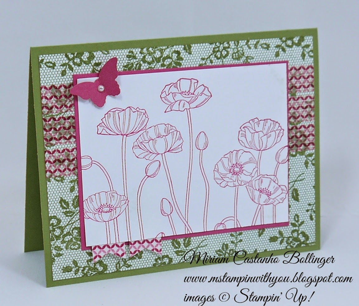 Miriam Castanho Bollinger, mstampinwithyou, stampin up, demonstrator, sssc 245, I love lace, pleasant poppies, gingham garden DSP washi tape, banner punch, bitty butterfly, su