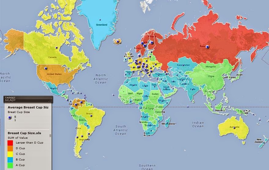 map of breast sizes from various countries
