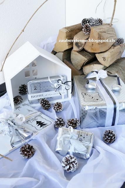 adventskalender silber, diy adventskalender, ikea geschenke