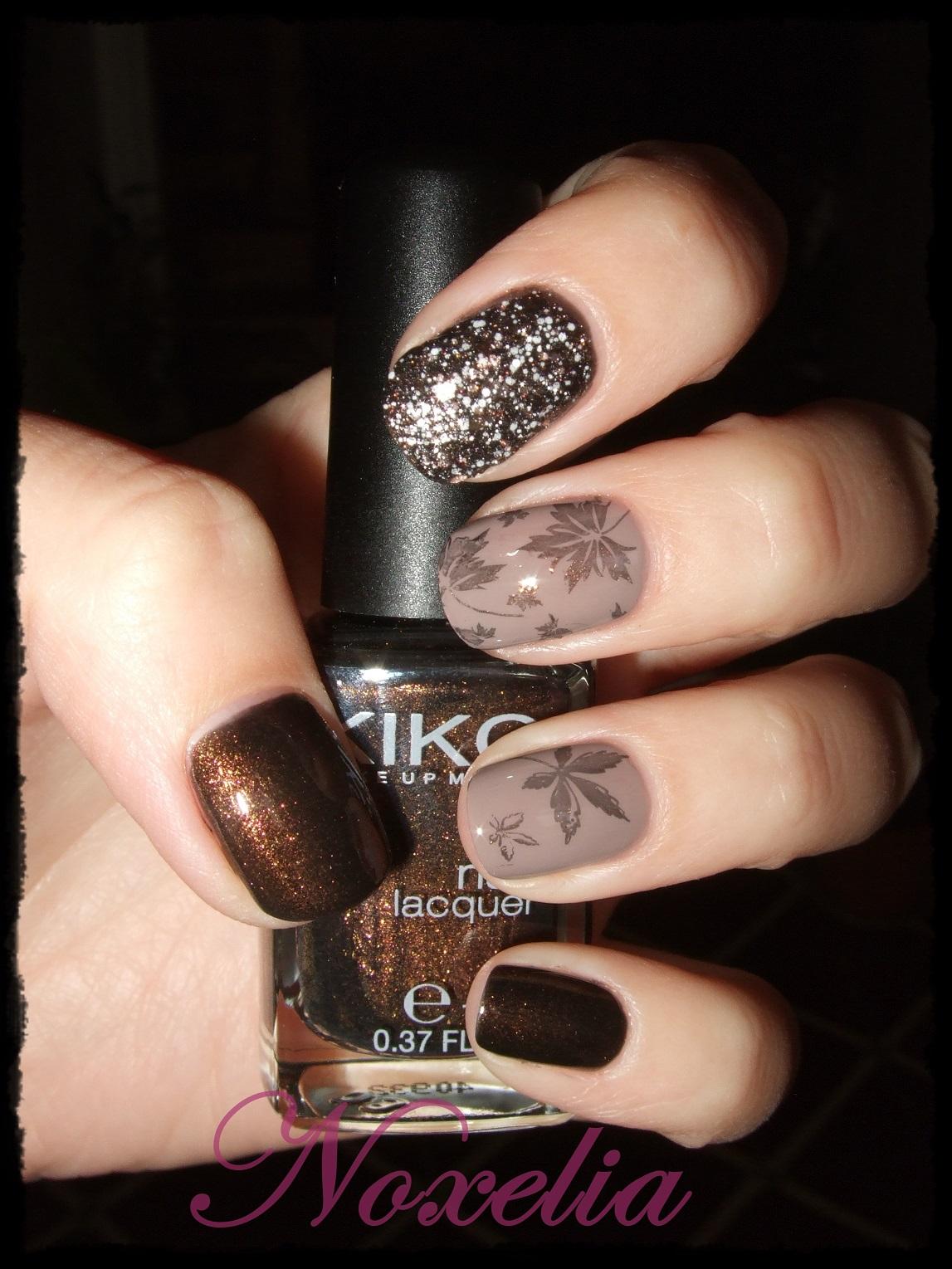 Noxelia: Stamping nail art: Look de uñas Nº 280. Reto Colores Marrón