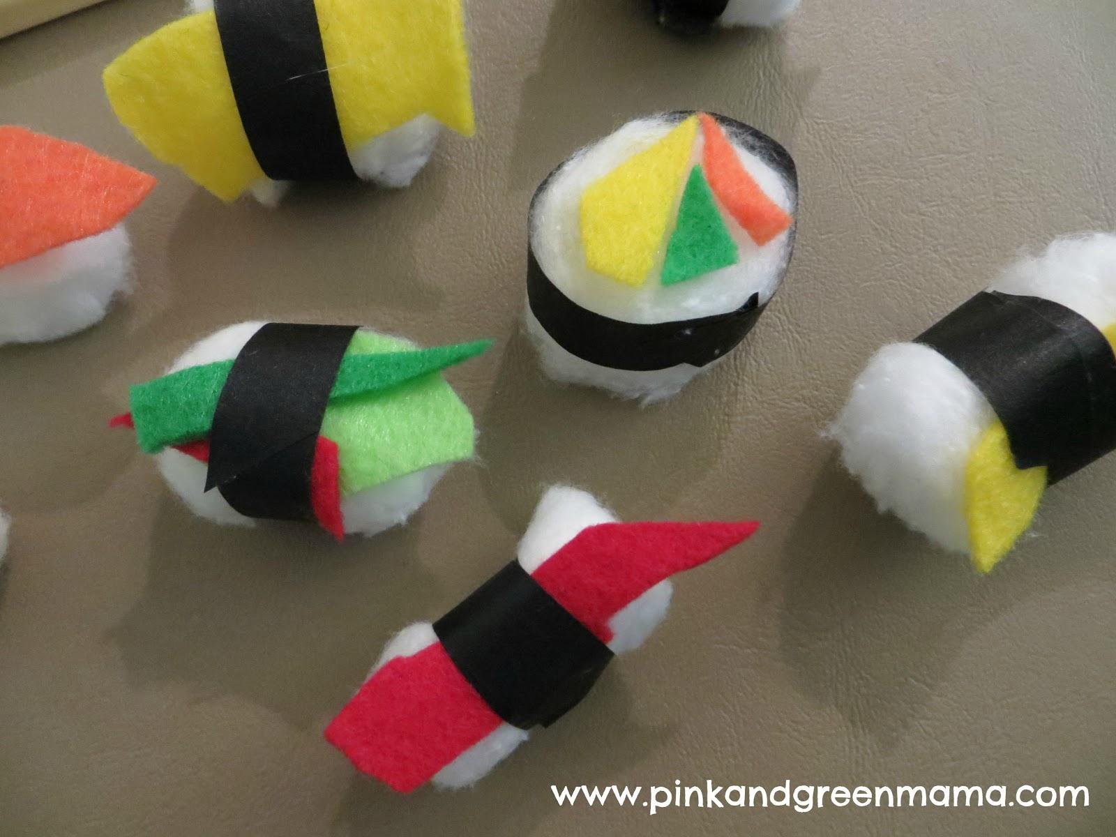 pink and green mama cotton ball sushi craft